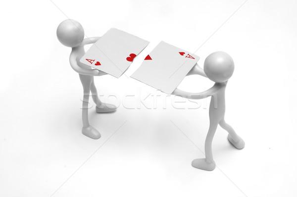 Scheur kaart twee menselijke abstract Rood Stockfoto © photocreo