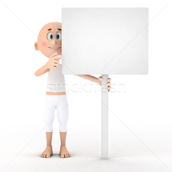 Toon guy holding a blank white board Stock photo © photocreo