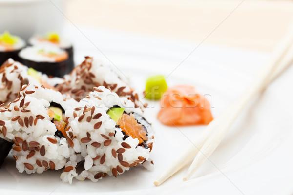 Szusi lazac avokádó rizs hínár felszolgált Stock fotó © photocreo