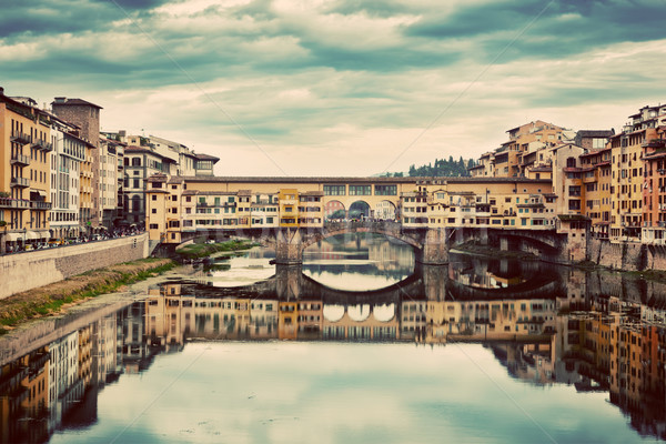 Ponte Vecchio bridge in Florence, Italy. Arno River, vintage Stock photo © photocreo