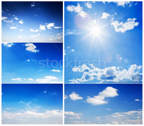 Set of beautiful blue sunny skies Stock photo © photocreo
