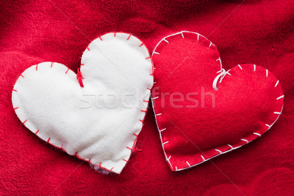 Peluche rouge coeurs couple soft Photo stock © photocreo