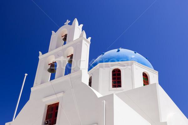 Witte kerk Blauw koepel santorini eiland Stockfoto © photocreo