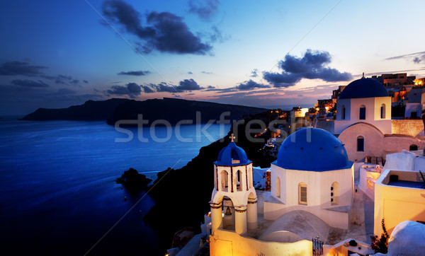 Miasta santorini wyspa Grecja noc skał Zdjęcia stock © photocreo