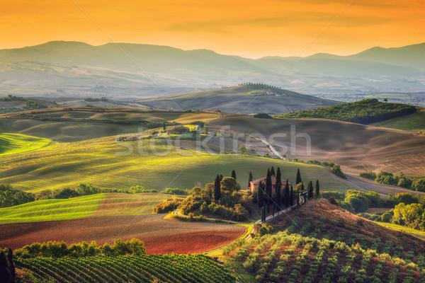 Toscana paisagem nascer do sol toscano fazenda casa Foto stock © photocreo