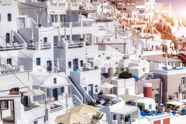 Fira town on Santorini island, Greece. Traditional architecture Stock photo © photocreo