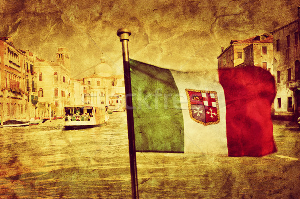 Venice Grand Canal and the flag of italy. Vintage art Stock photo © photocreo