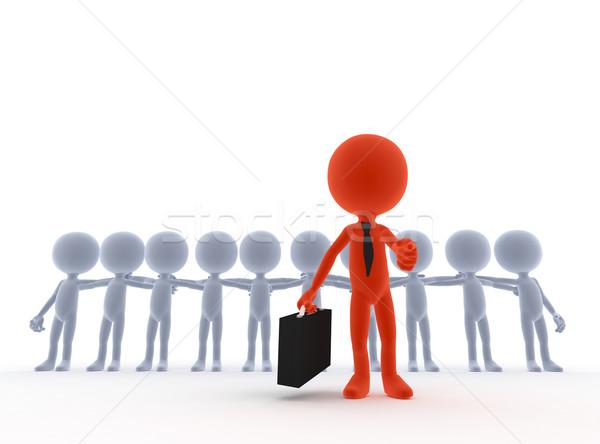 équipe commerciale leader patron gens 3d main fond Photo stock © photocreo