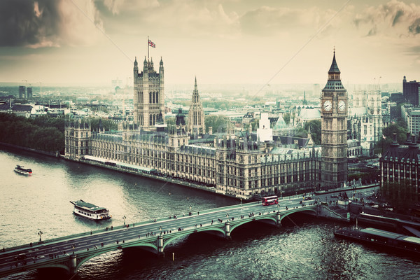 London, the UK. Big Ben, the Palace of Westminster. Vintage Stock photo © photocreo