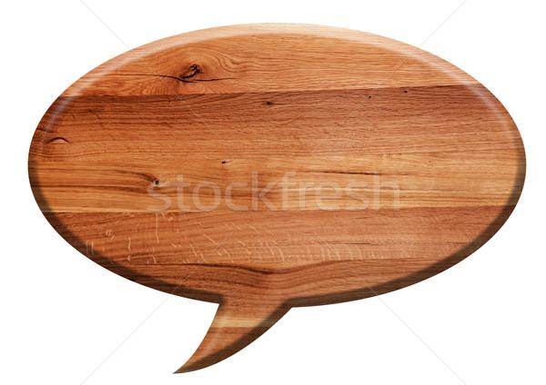 Fából készült szöveglufi tábla izolált fehér természetes Stock fotó © photocreo