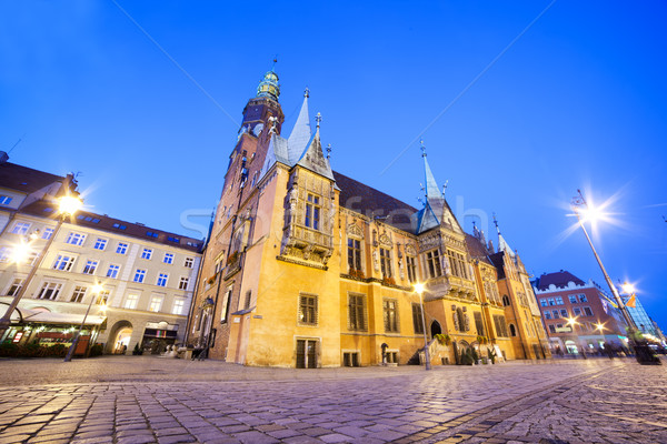 Wroclaw, Poland. The Town Hall on market square at night Stock photo © photocreo