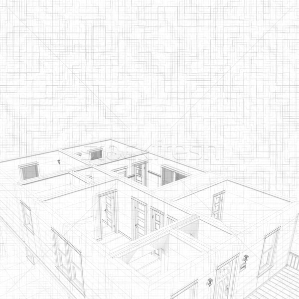 3d sketch of a house. Concept of architect project, architecture design Stock photo © photocreo