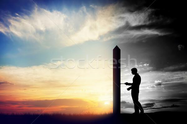 Homem abrir a porta novo mundo mudar Foto stock © photocreo