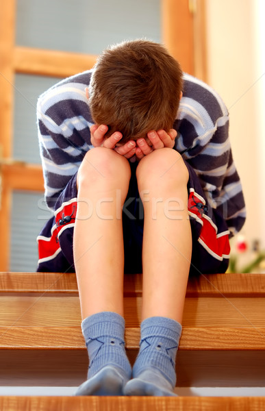 Tristesse portrait séance visage garçon Photo stock © photocreo