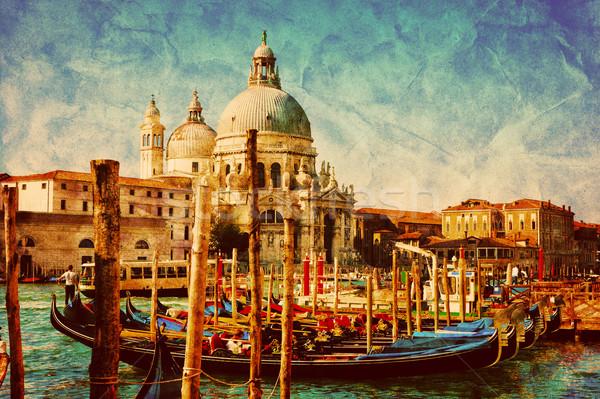 Venedik İtalya gondol bağbozumu kanal Stok fotoğraf © photocreo