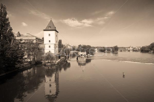Prague. Vltava river - view from Jirasek bridge Stock photo © photocreo