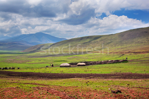 Manzara Tanzanya Afrika evler vadi Stok fotoğraf © photocreo