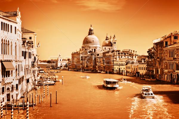 Velence Olaszország csatorna bazilika klasszikus monokróm Stock fotó © photocreo