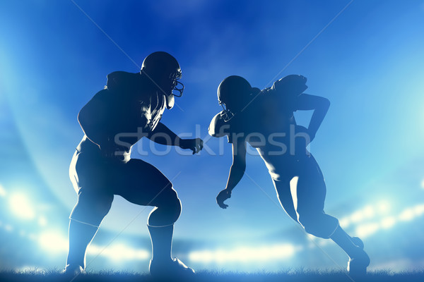 American football players in game, quarterback running. Stadium lights Stock photo © photocreo