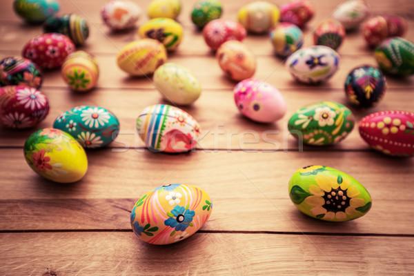 Colorato mano verniciato easter eggs legno unico Foto d'archivio © photocreo