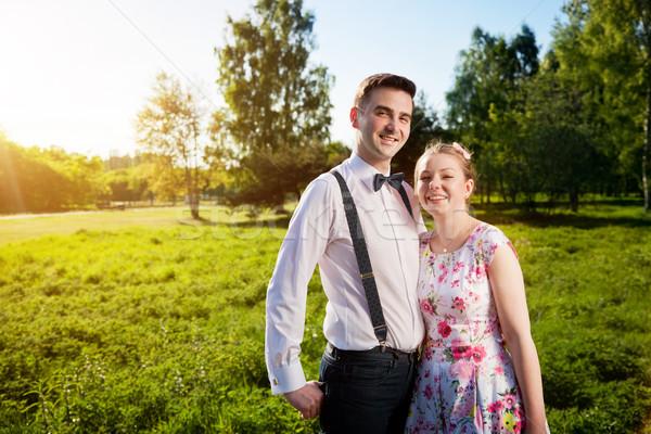 Jungen glücklich Paar Liebe Porträt Sommer Stock foto © photocreo