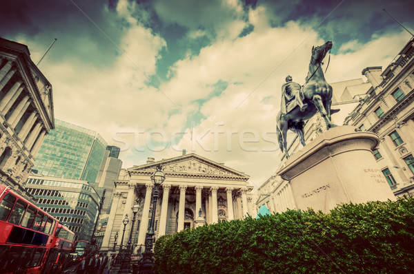 Bank of England, the Royal Exchange in London, the UK. Vintage Stock photo © photocreo