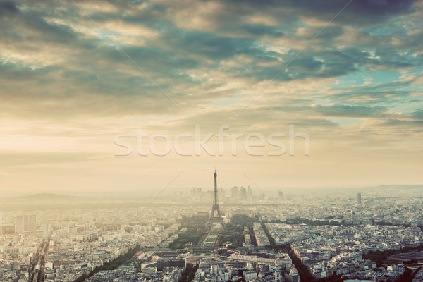 Paris, France vintage skyline, panorama. Eiffel Tower, Champ de Mars Stock photo © photocreo