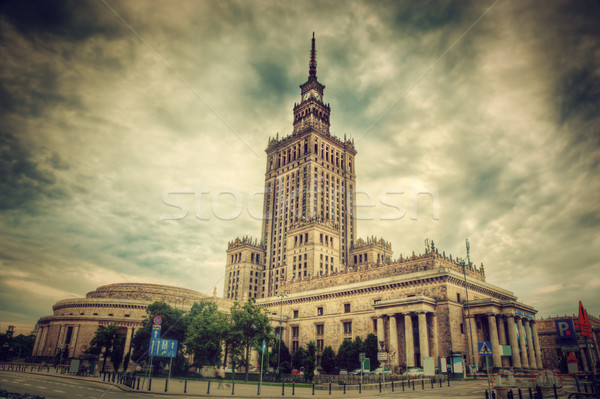 Palais culture science Varsovie Pologne rétro Photo stock © photocreo