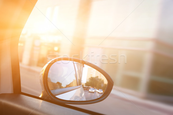 Dynamic view from car on the wing mirror during drive Stock photo © photocreo