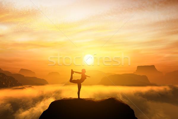Nő meditál táncos jóga pozició felső Stock fotó © photocreo