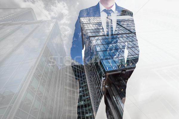 Verdubbelen blootstelling zakenman moderne wolkenkrabbers business Stockfoto © photocreo