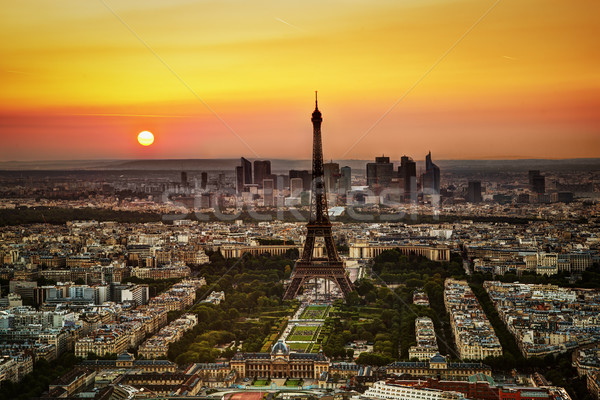 Paris, France at sunset. Aerial view on the Eiffel Tower Stock photo © photocreo