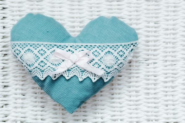 Vintage ручной работы плюш бирюзовый сердце белый Сток-фото © photocreo