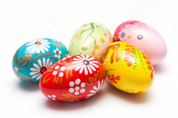 Mão pintado ovos de páscoa branco primavera padrões Foto stock © photocreo