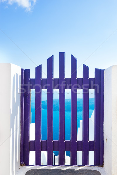 Small blue fence gate in Oia on Santorini island, Greece. Stock photo © photocreo