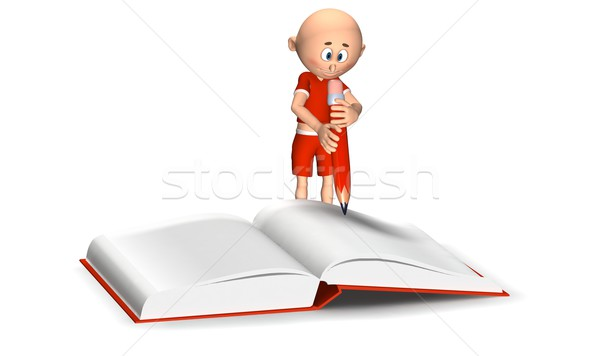 Toon guy writing in a notebook Stock photo © photocreo