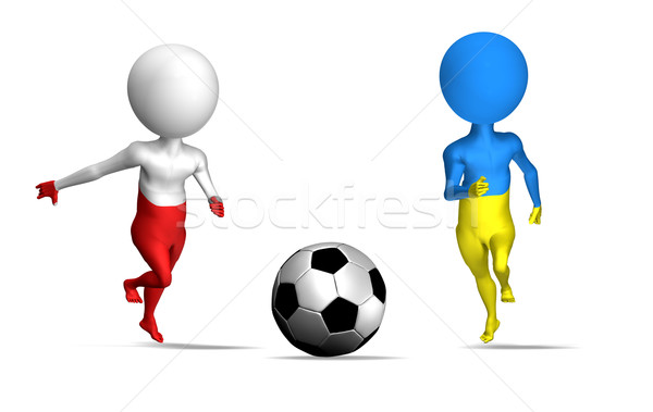 Euro 2012 Pologne Ukraine 3D deux Photo stock © photocreo