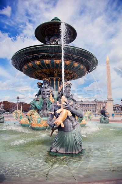фонтан Париж Франция Лувр здании строительство Сток-фото © photocreo