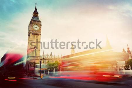 Retro car, limousine next to Big Ben, London, the UK Stock photo © photocreo