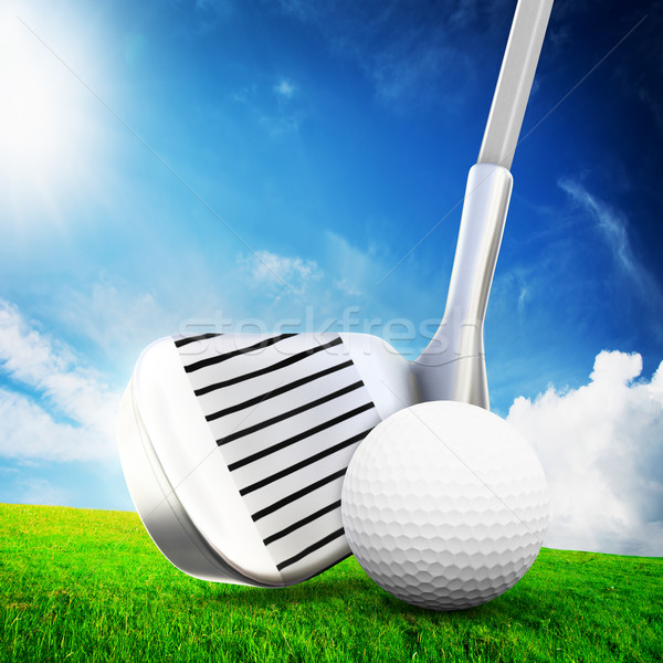 Playing golf. Ball on tee, a golf club Stock photo © photocreo