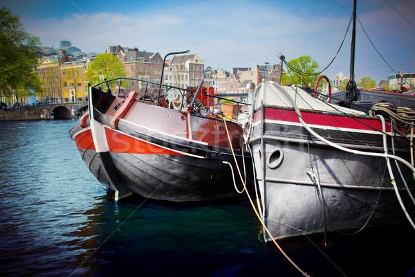 Amsterdam kanal tekneler Hollanda Hollanda Stok fotoğraf © photocreo