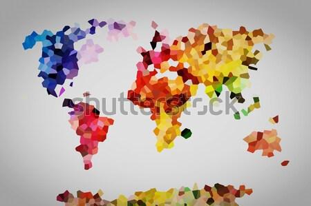 Stockfoto: Laag · kleurrijk · wereldkaart · vintage · perfect · hoog