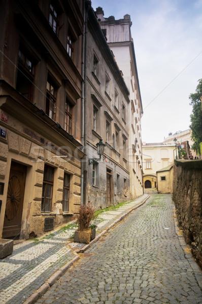 Praga arhitectura veche străzi clădirilor rutier Imagine de stoc © photocreo