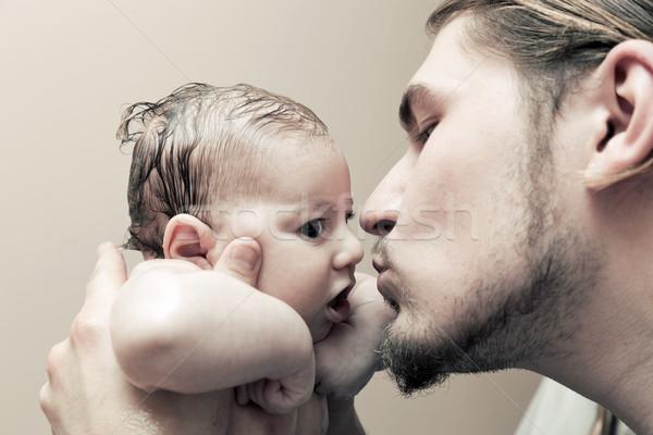 отец молодые ребенка целоваться щека Сток-фото © photocreo