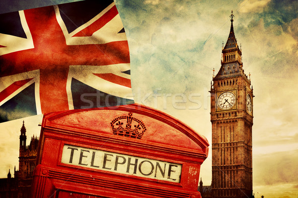 Symbols of London, England, the UK. Red phone booth, Big Ben, the Union Jack flag Stock photo © photocreo
