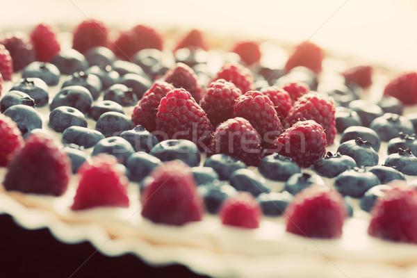 Stok fotoğraf: Meyve · pasta · taze · ahududu · bağbozumu