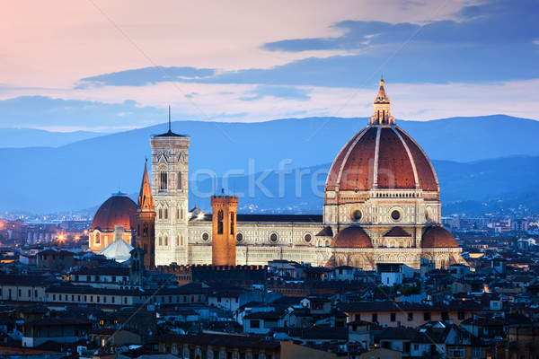 Florence, Italy sunset skyline. Cathedral of Saint Mary of the Flowers. Vintage Stock photo © photocreo