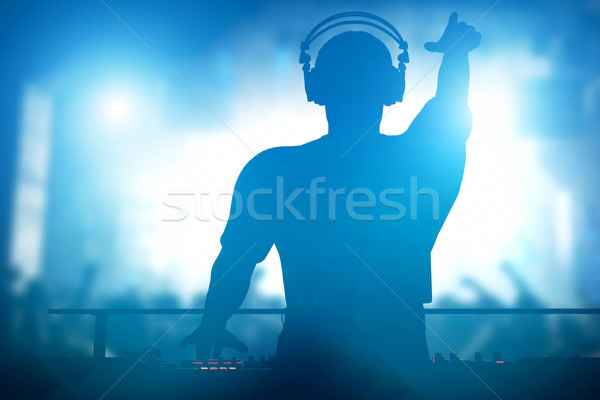 Club, disco DJ playing and mixing music for people. Nightlife Stock photo © photocreo