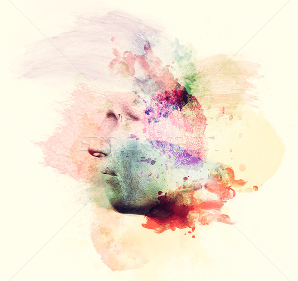 Man face in watercolor painting. Concept of creative thinking, imagination, emotions Stock photo © photocreo