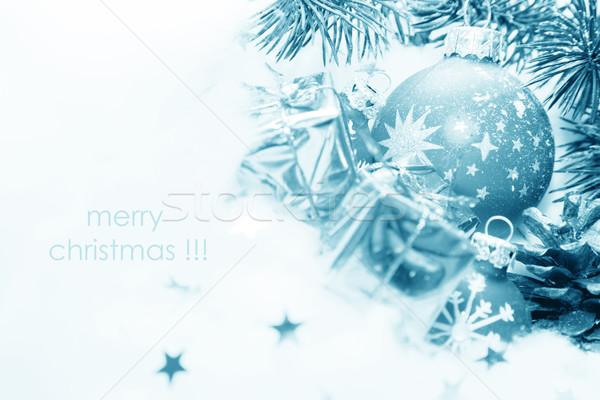 Karácsony golyók dekoráció fagyott puha pamut Stock fotó © photocreo